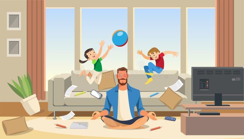 Πατέρας σε μια κατάσταση της πίεσης με τα παίζοντας παιδιά διανυσματική απεικόνιση