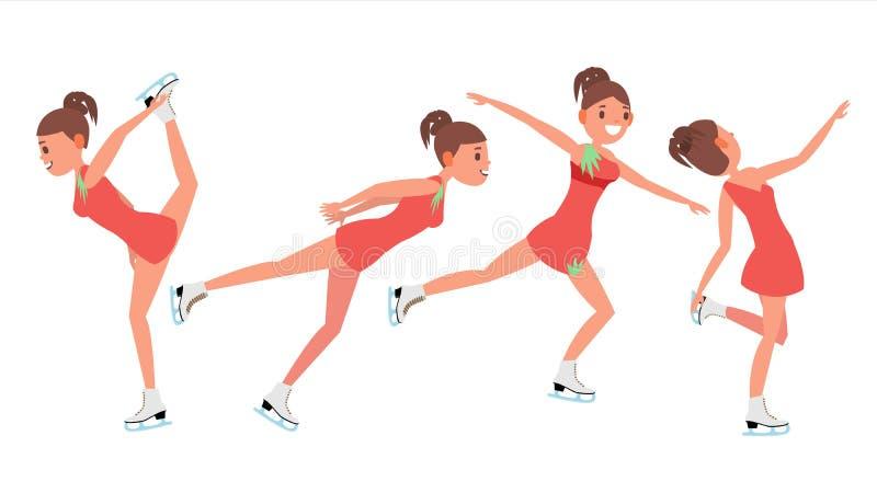 Πατινάζ αριθμού αθλητών κοριτσιών Διάνυσμα σκέιτερ αριθμού πάγου Χειμερινός αθλητισμός αθλητών Χορευτής Synchron Διαφορετικός θέτ διανυσματική απεικόνιση