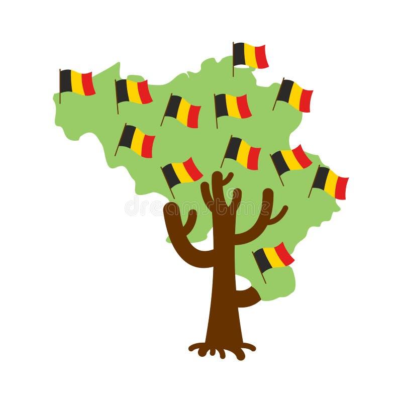 Πατριωτικός χάρτης του Βελγίου δέντρων βελγική σημαία Εθνικό πολιτικό Pla διανυσματική απεικόνιση
