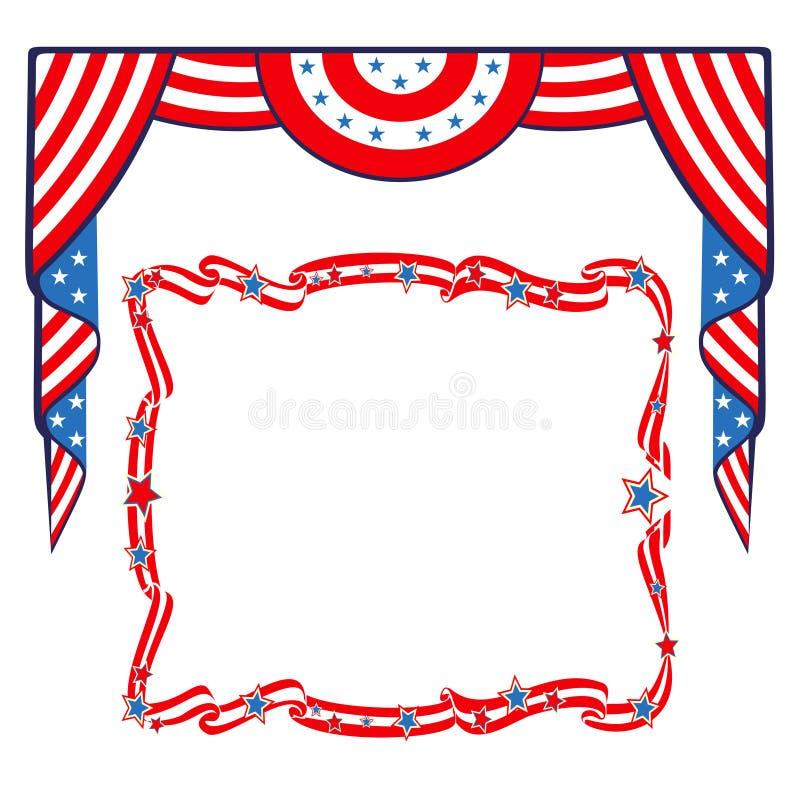 Πατριωτικό πρότυπο συνόρων αμερικανικών σημαιών διανυσματική απεικόνιση