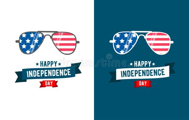 Πατριώτης γυαλιών ηλίου ανεξαρτησία Ιούλιος της 4 ελεύθερη απεικόνιση δικαιώματος