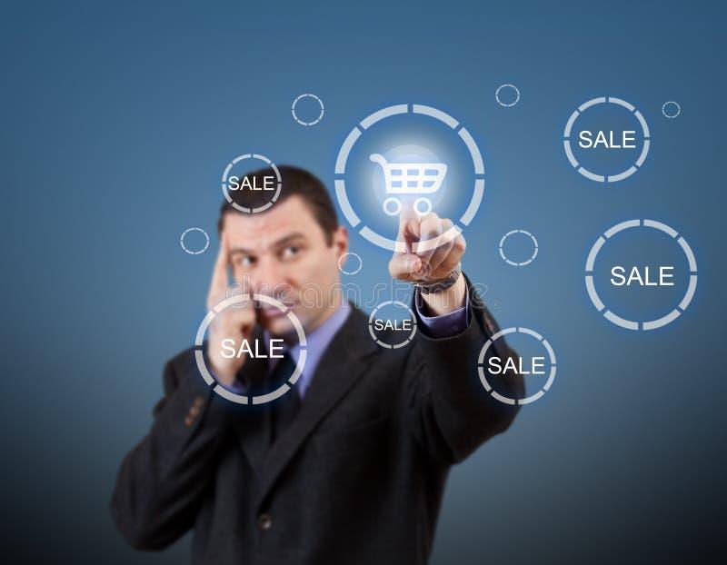 πατώντας αγορές ατόμων κάρρων κουμπιών διανυσματική απεικόνιση