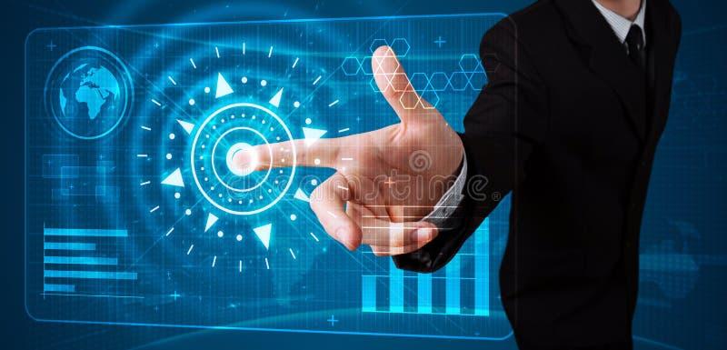 Πατώντας τύπος υψηλής τεχνολογίας επιχειρηματιών σύγχρονων κουμπιών στοκ εικόνα