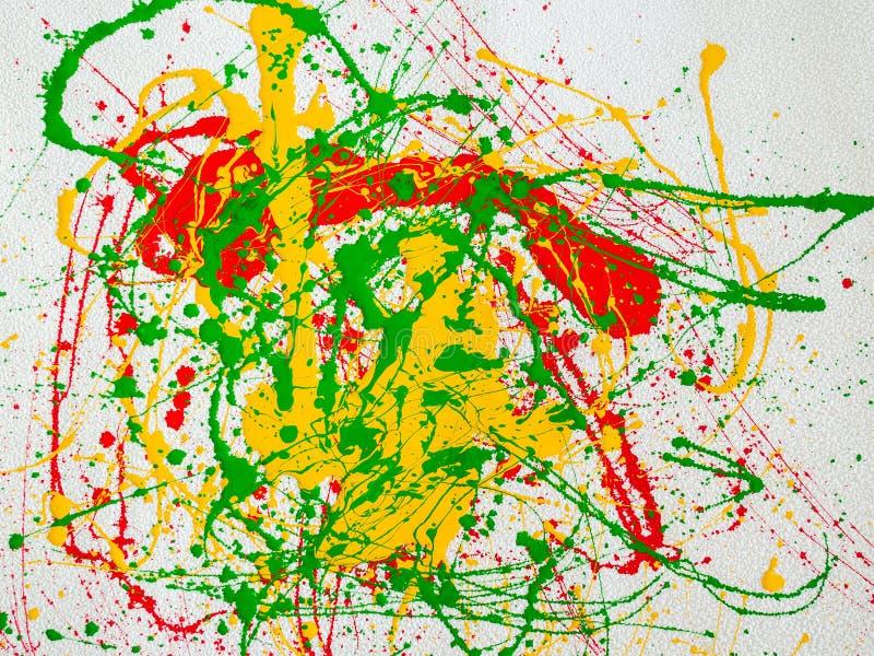 Παφλασμοί του κόκκινου και κιτρινοπράσινου χρώματος σε ένα άσπρο υπόβαθρο απεικόνιση αποθεμάτων