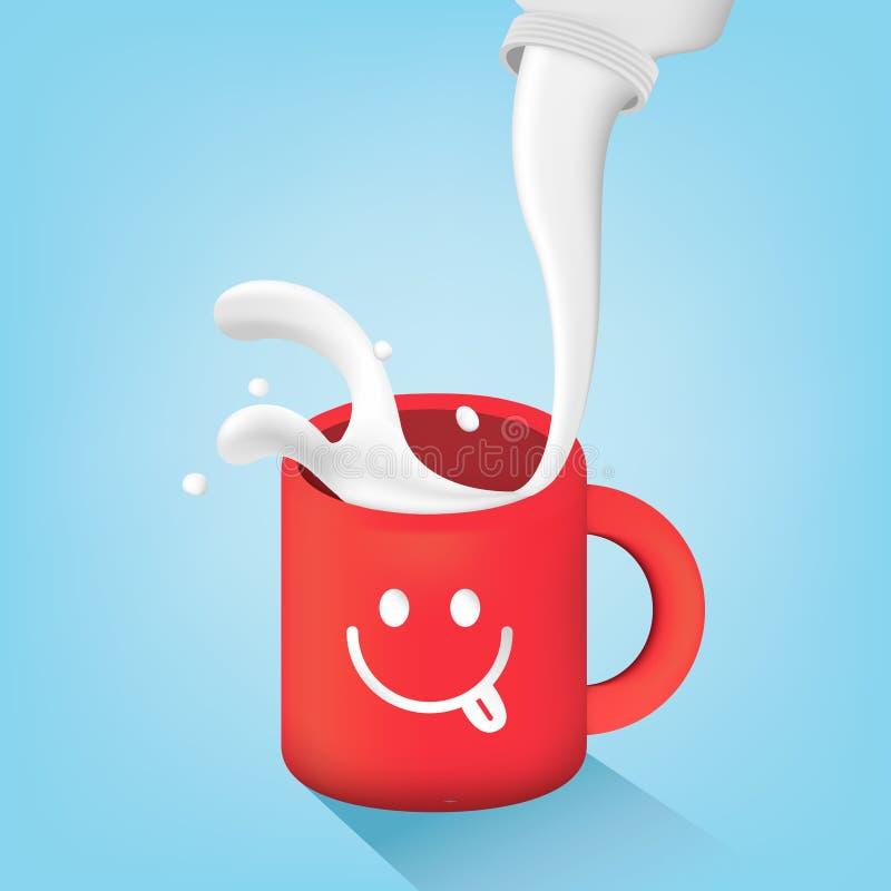 Παφλασμός γάλακτος στην κόκκινη κούπα ελεύθερη απεικόνιση δικαιώματος