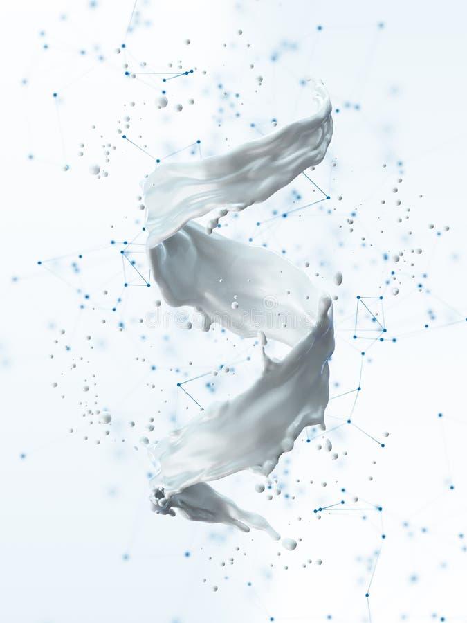 Παφλασμός γάλακτος υπό μορφή σπείρας διανυσματική απεικόνιση