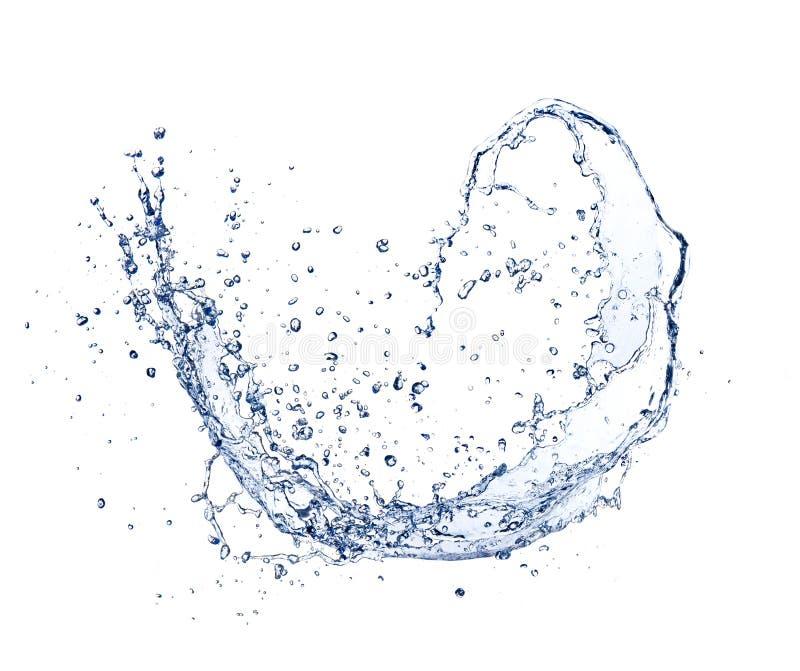 Παφλασμός κυμάτων νερού που απομονώνεται στο άσπρο υπόβαθρο στοκ εικόνες