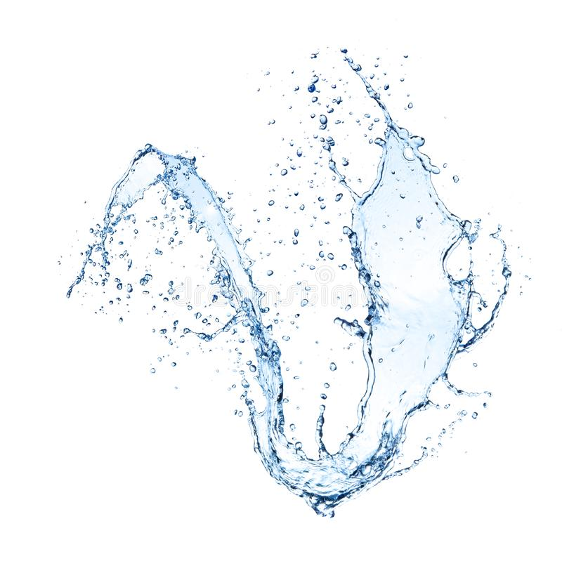 Παφλασμός κυμάτων νερού που απομονώνεται στο άσπρο υπόβαθρο στοκ φωτογραφία