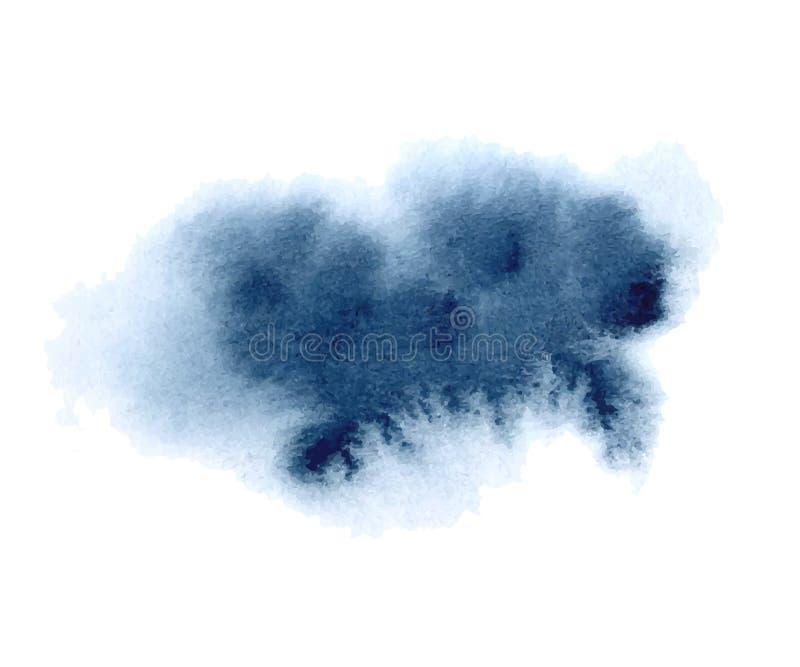 Παφλασμός λουλακιού Watercolor στο άσπρο υπόβαθρο Λεκές και πτώση μελανιού Grunge Υψηλός - ποιοτική με το χέρι επισημασμένη διανυ διανυσματική απεικόνιση