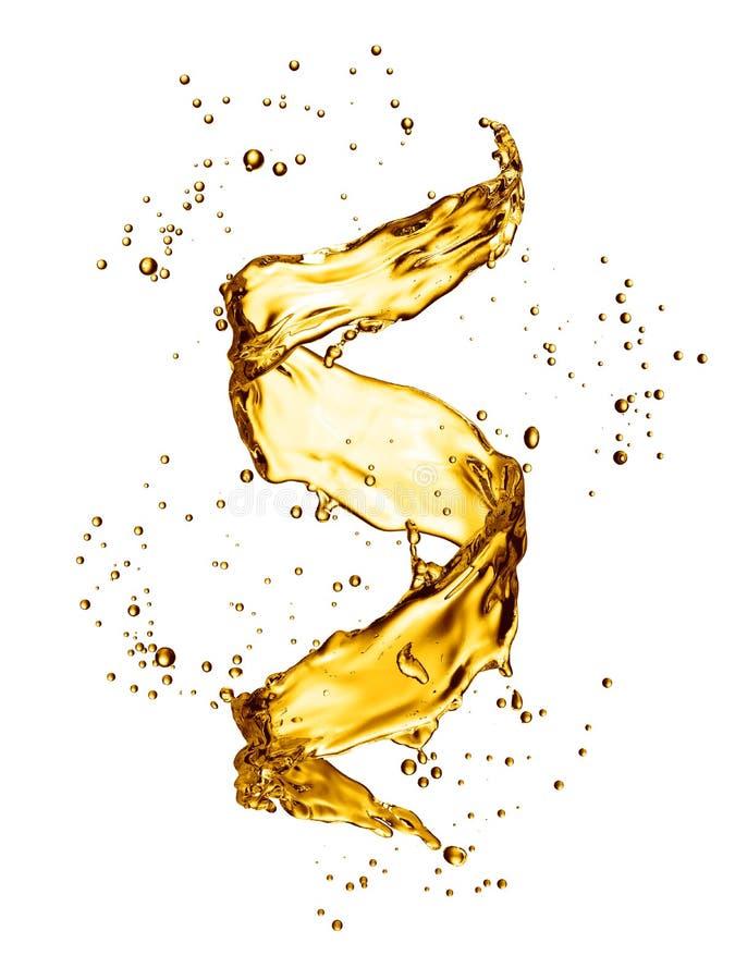 Παφλασμός νερού υπό μορφή σπειροειδούς χρυσού χρώματος απεικόνιση αποθεμάτων