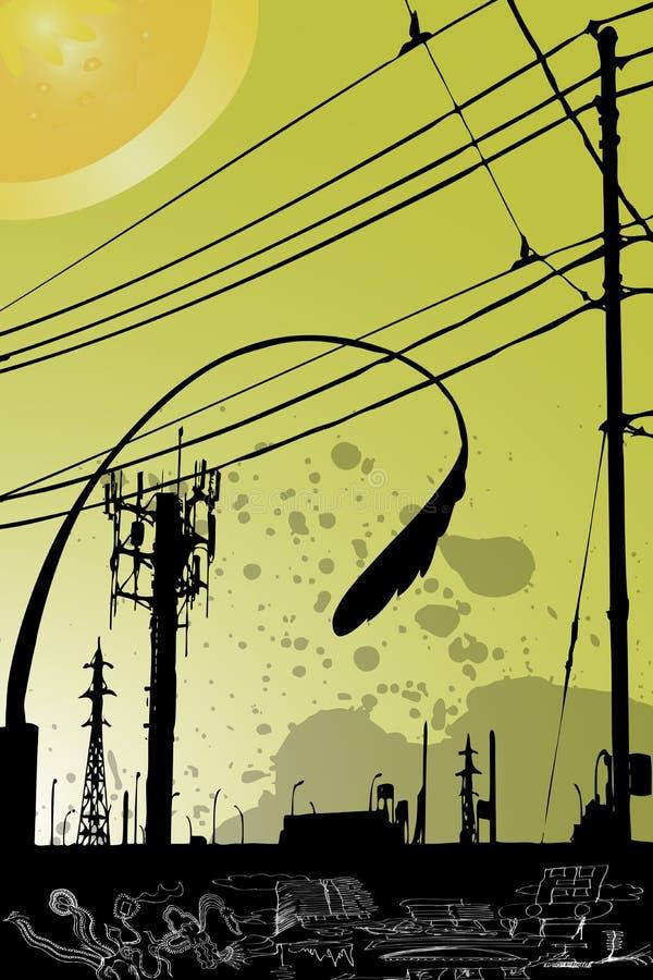 παφλασμός πόλεων grunge κίτρινο ελεύθερη απεικόνιση δικαιώματος