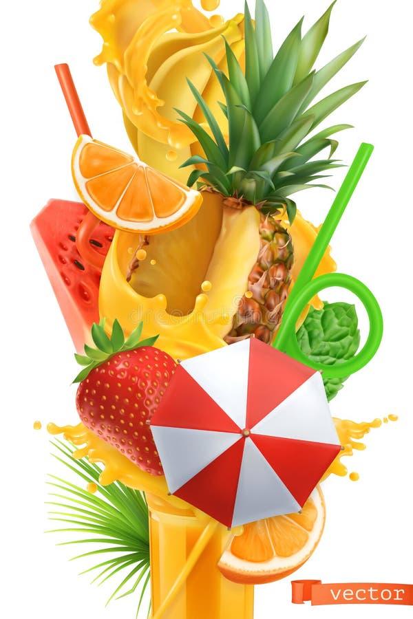 Παφλασμός του χυμού και των γλυκών τροπικών φρούτων Τρισδιάστατο διάνυσμα θερινών κοκτέιλ διανυσματική απεικόνιση