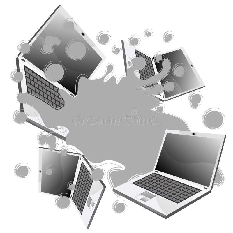 παφλασμός lap-top διανυσματική απεικόνιση