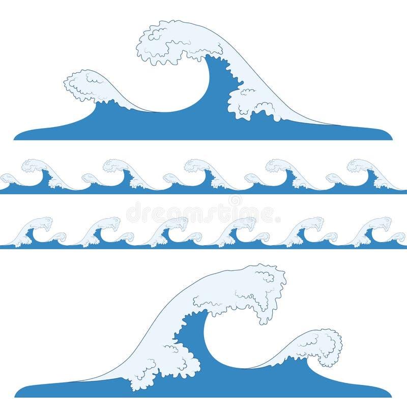 Παφλασμοί των κυμάτων θάλασσας Τσουνάμι, άνευ ραφής μπλε κύματα ελεύθερη απεικόνιση δικαιώματος