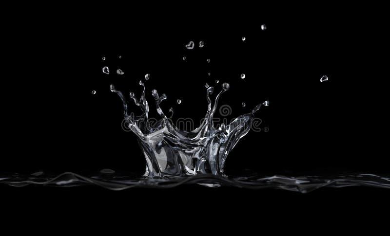 Παφλασμός κορωνών νερού που αντιμετωπίζεται από μια πλευρά, στο μαύρο υπόβαθρο. ελεύθερη απεικόνιση δικαιώματος