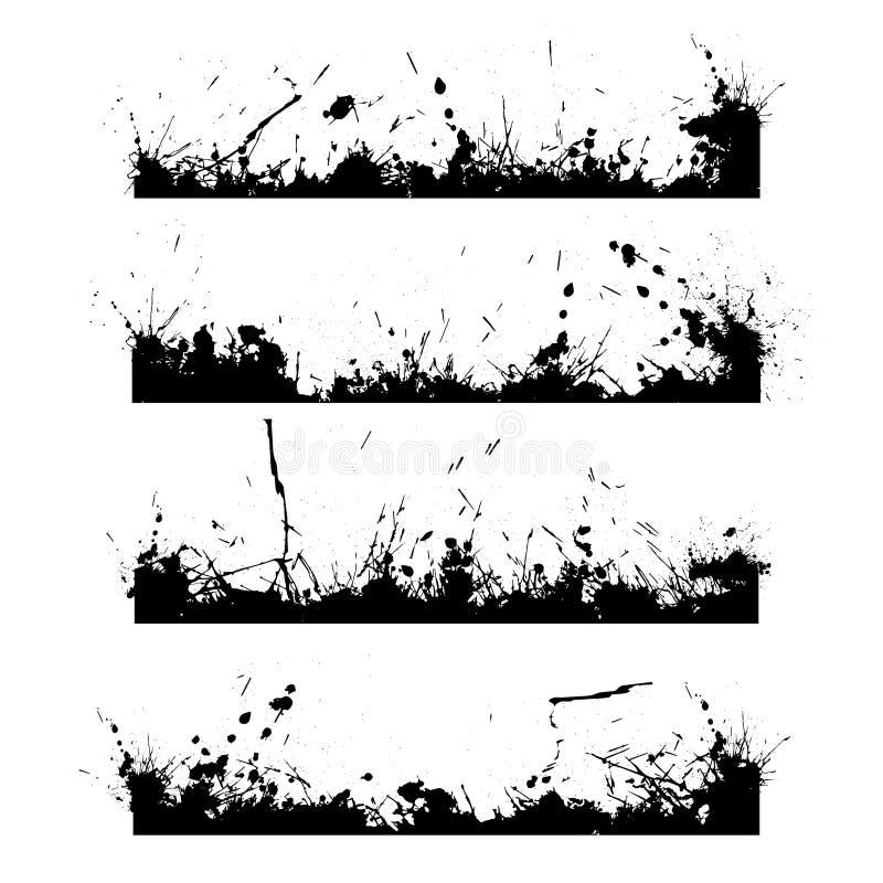 Παφλασμός τεσσάρων μαύρος πλαισίων απεικόνιση αποθεμάτων