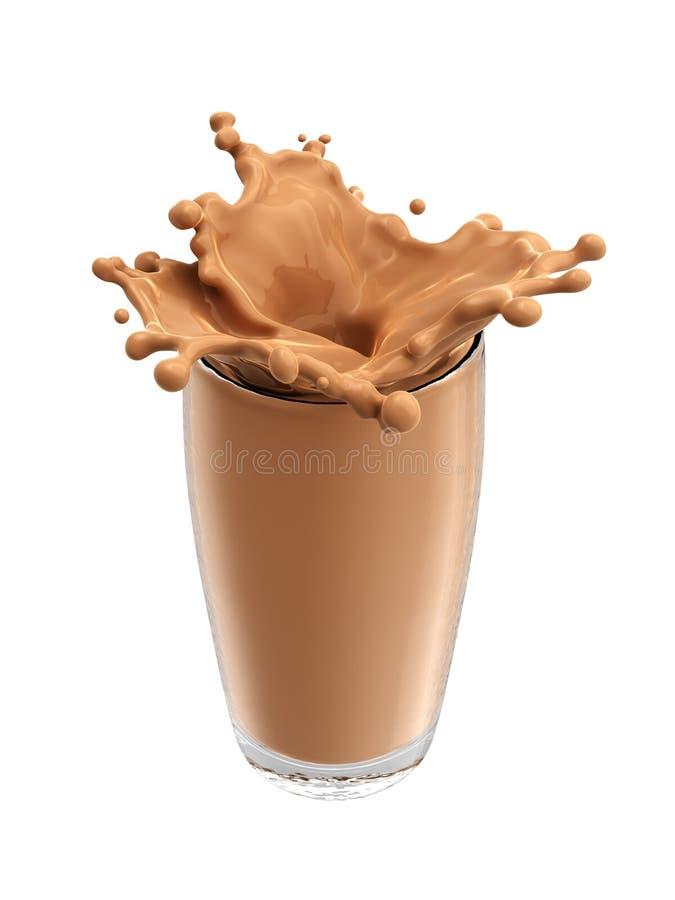 Παφλασμός του γάλακτος σοκολάτας από το γυαλί απομονωμένος στοκ εικόνα με δικαίωμα ελεύθερης χρήσης