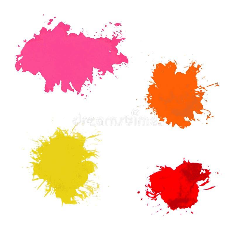 Παφλασμός χρωμάτων. Διανυσματικό σύνολο κτυπημάτων βουρτσών απεικόνιση αποθεμάτων