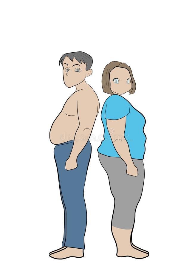 Παχιά γυναίκα και παχύς άνδρας, έννοια απώλειας βάρους απεικόνιση αποθεμάτων