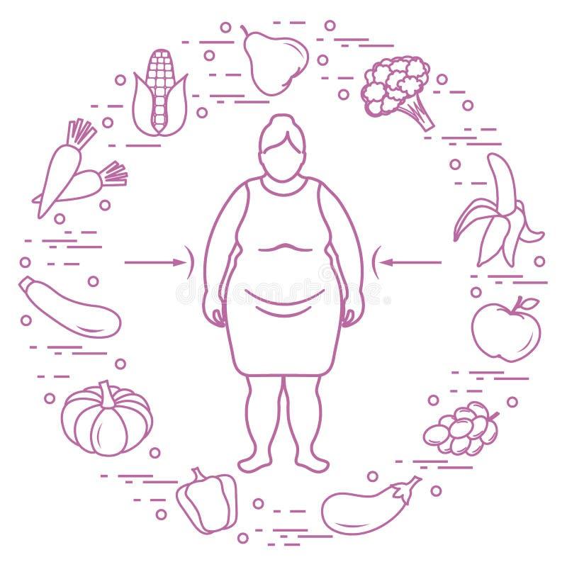 Παχιά γυναίκα με τα υγιή τρόφιμα γύρω από την συνήθειες κατανάλωσης υγιείς διανυσματική απεικόνιση