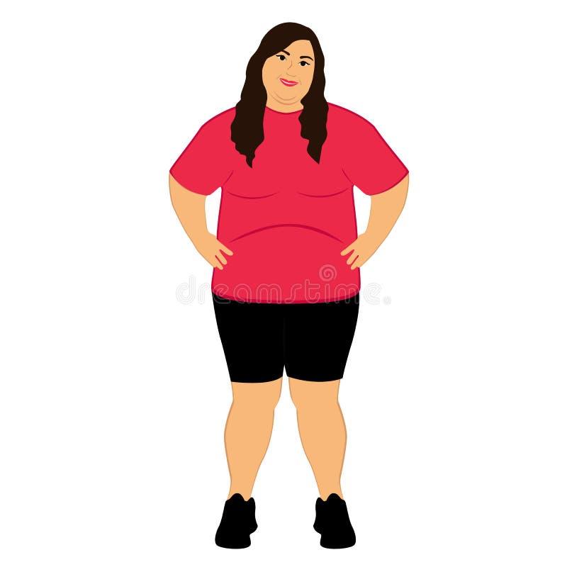 Παχιά γυναίκα παχυσαρκία lifestyle ελεύθερη απεικόνιση δικαιώματος