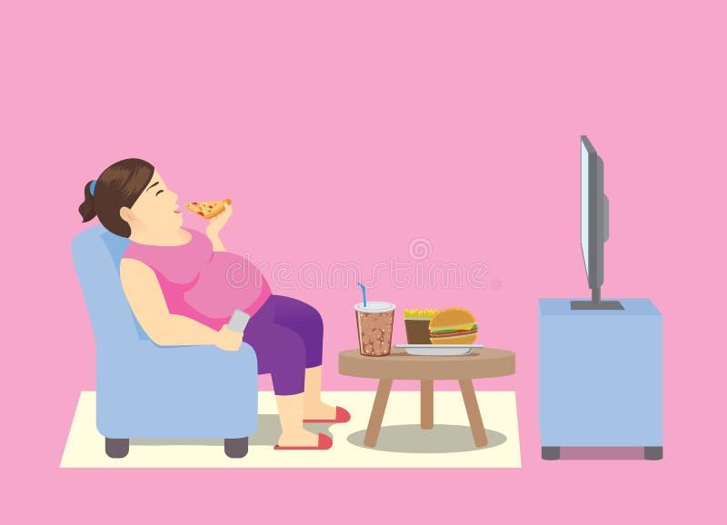 Παχιά γυναίκα που τρώει το γρήγορο φαγητό στον καναπέ και που προσέχει την τηλεόραση ελεύθερη απεικόνιση δικαιώματος