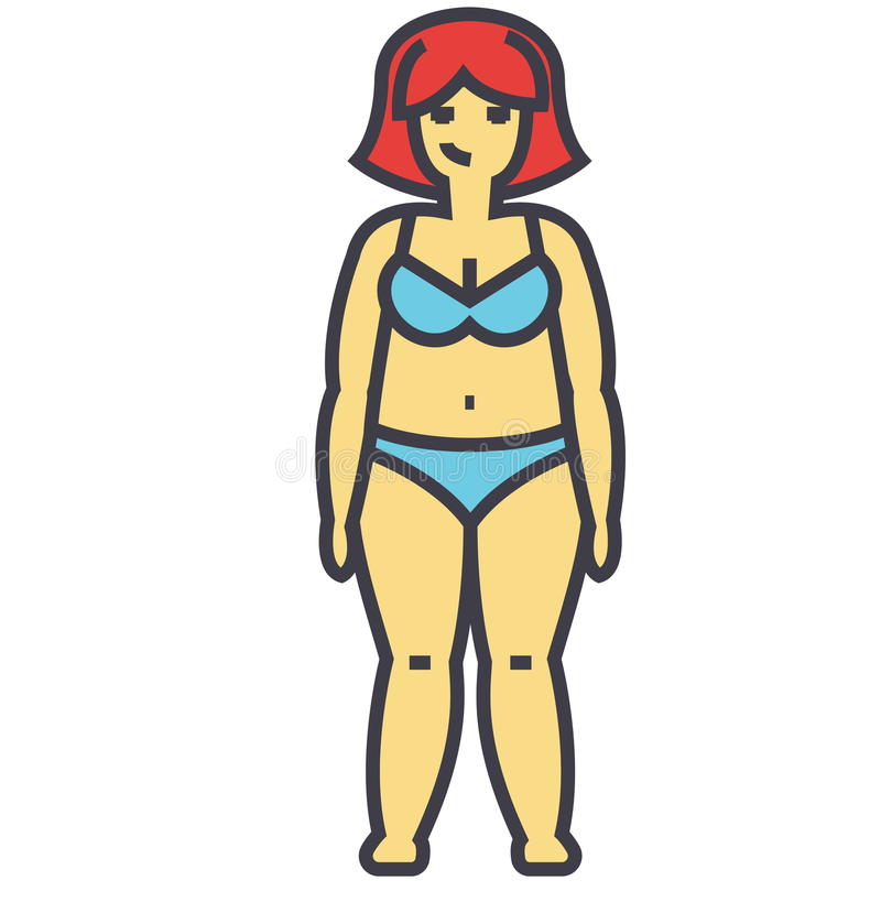 Παχιά γυναίκα πριν από την έννοια διατροφής ελεύθερη απεικόνιση δικαιώματος