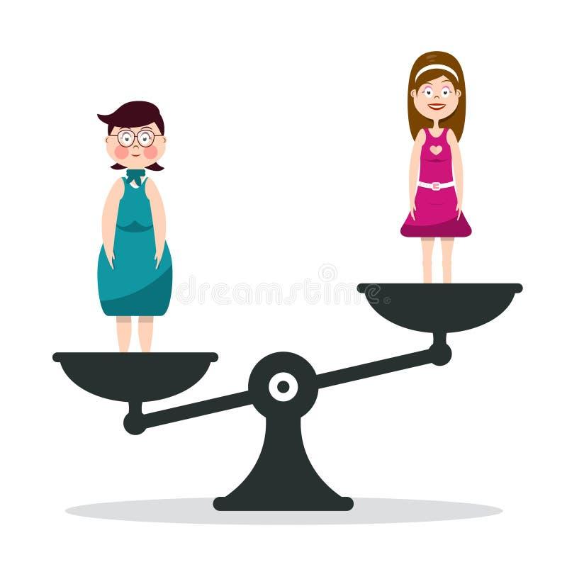 Παχιά και λεπτή γυναίκα στις κλίμακες Κορίτσια στην κλίμακα ελεύθερη απεικόνιση δικαιώματος
