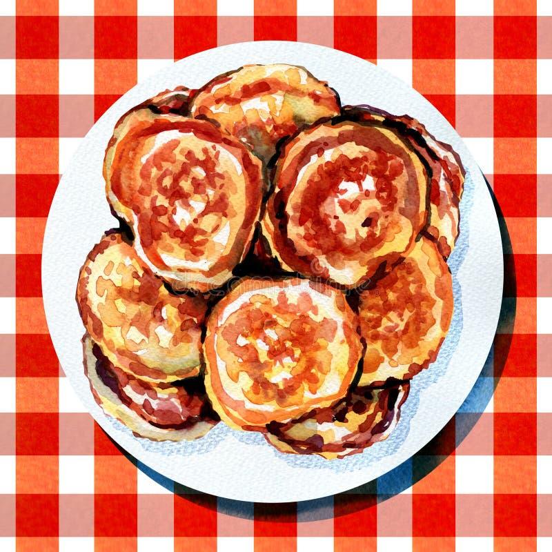 Παχιά τηγανίτα με τη σάλτσα στο άσπρο πιάτο διανυσματική απεικόνιση