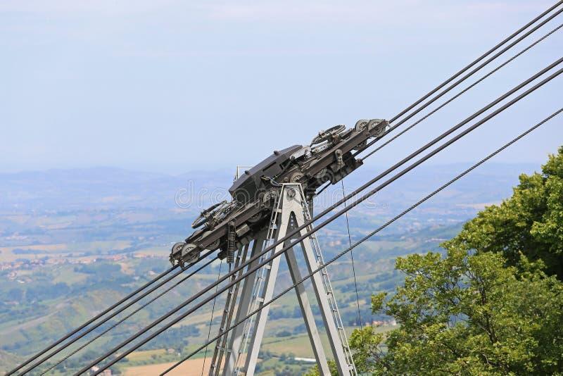 Παχιές καλώδια και τροχαλίες για cableway μεταφορών στοκ φωτογραφία