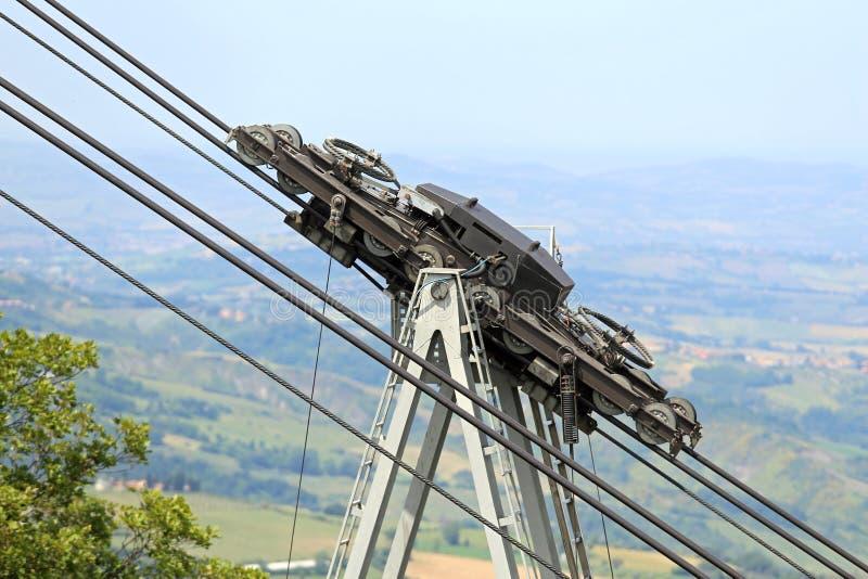 Παχιές καλώδια και τροχαλίες χάλυβα για cableway στοκ εικόνες