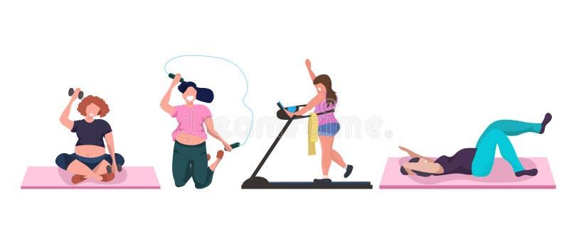 Παχιές παχύσαρκες γυναίκες που κάνουν τα διαφορετικά υπέρβαρα κορίτσια ασκήσεων που εκπαιδεύουν την αεροβική έννοια απώλειας βάρο διανυσματική απεικόνιση