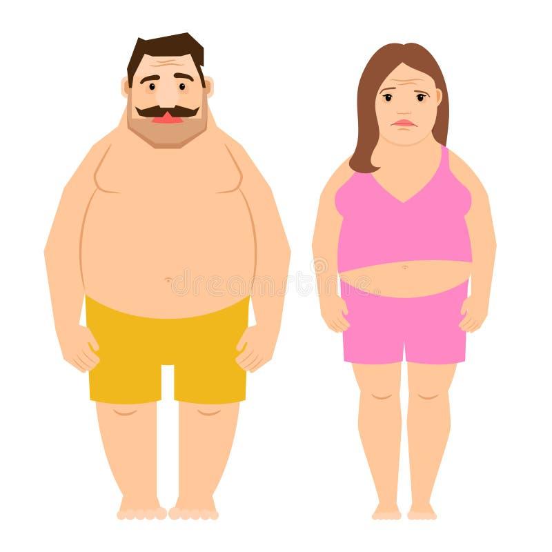 Παχιοί ασκώντας άνδρας και γυναίκα απεικόνιση αποθεμάτων