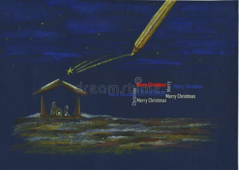 Παχνί με το χαιρετισμό Χριστουγέννων ελεύθερη απεικόνιση δικαιώματος