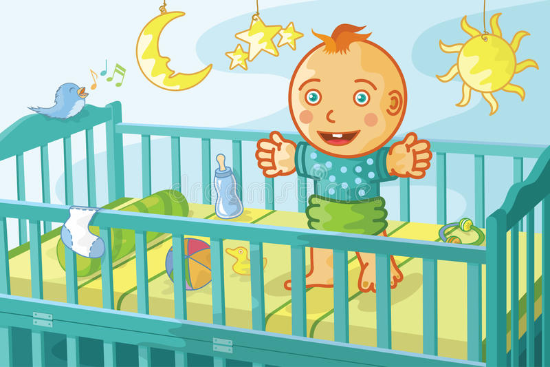 παχνί μωρών ευτυχές διανυσματική απεικόνιση