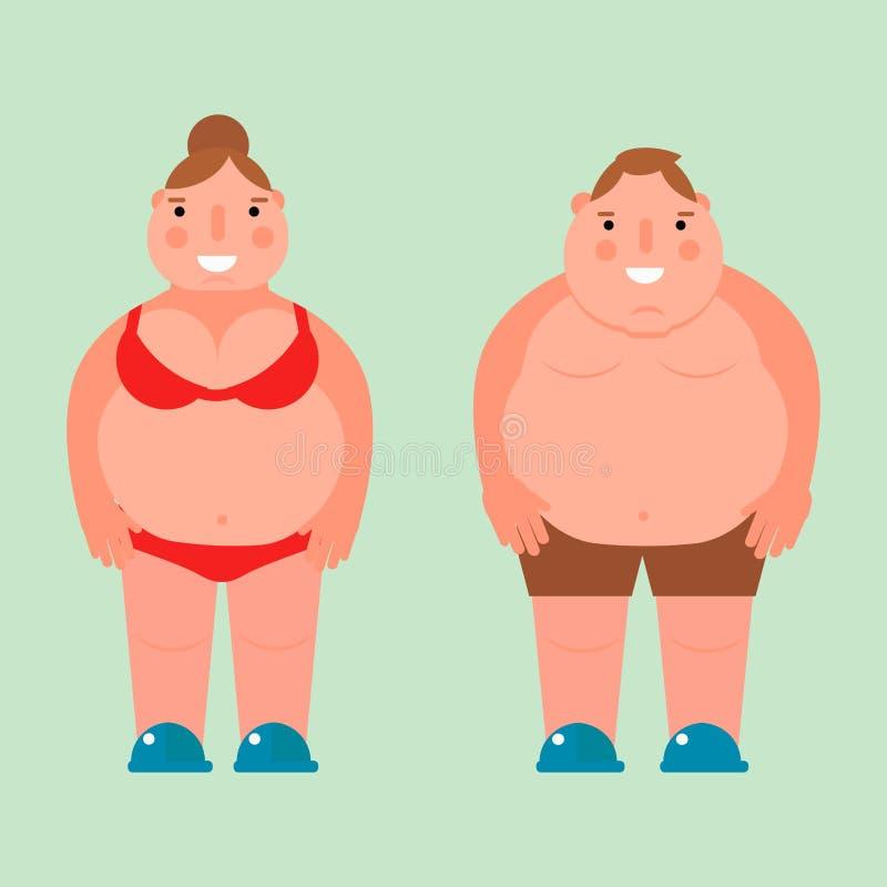 Παχύς γυναικών διανυσματικός επίπεδος απεικόνισης υπέρβαρος σωμάτων ανδρών χαρακτήρας κοιλιών προσώπων ανθυγειινός μεγάλος διανυσματική απεικόνιση