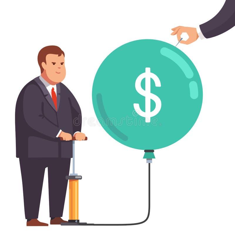 Παχύς οικονομικός επιχειρηματίας με τη φυσαλίδα αγοράς διανυσματική απεικόνιση