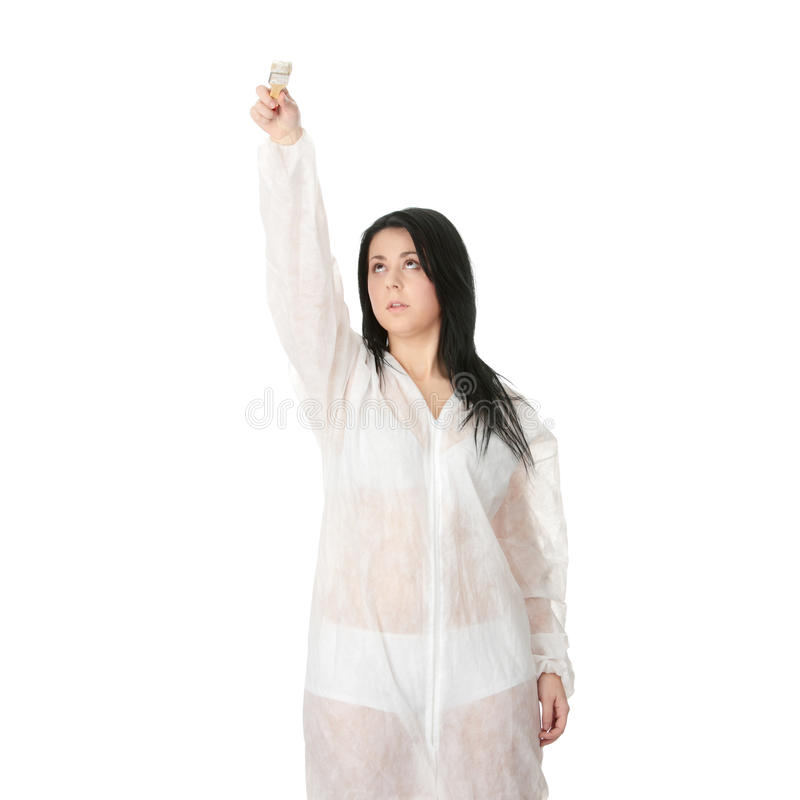 παχύσαρκη γυναίκα ζωγράφ&omicro στοκ εικόνα