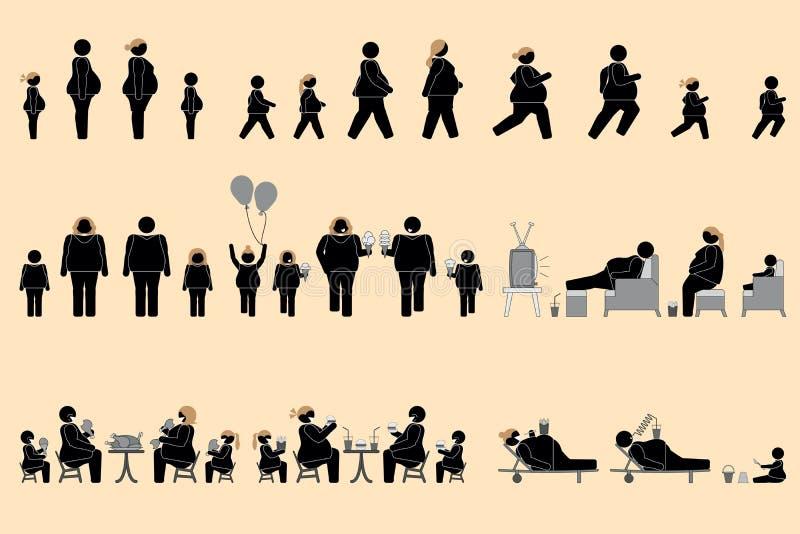 Παχύσαρκοι άνθρωποι και καλό εικονόγραμμα όρεξης ελεύθερη απεικόνιση δικαιώματος