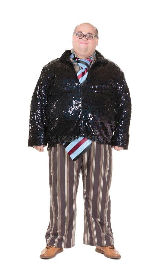 Παχύσαρκο άτομο με μια προσβλητική αίσθηση μόδας στοκ εικόνα