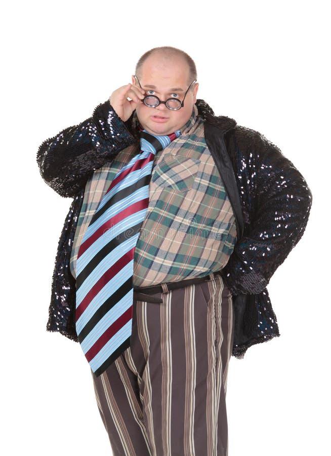 Παχύσαρκο άτομο με μια προσβλητική αίσθηση μόδας στοκ εικόνες