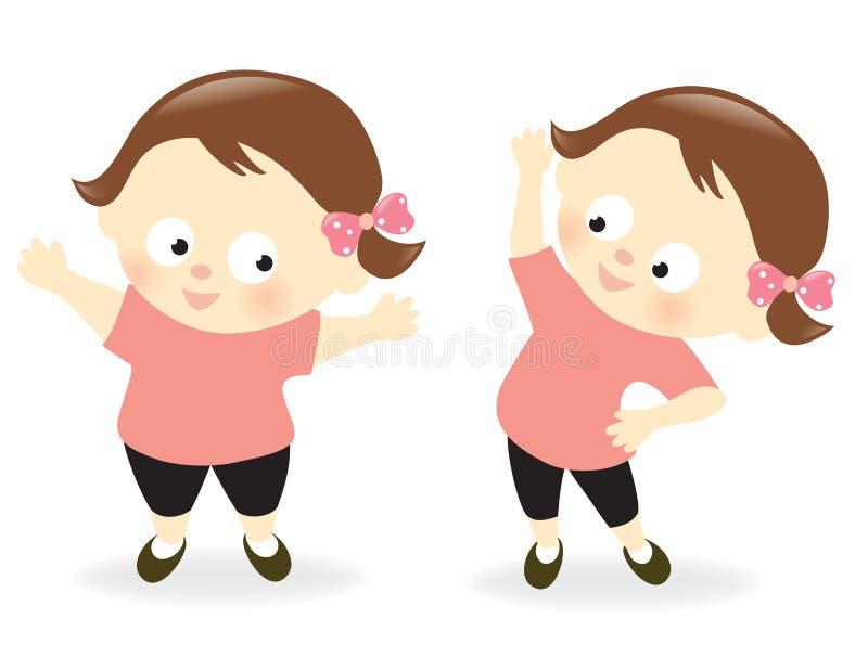Παχύσαρκο κορίτσι πριν και μετά διανυσματική απεικόνιση