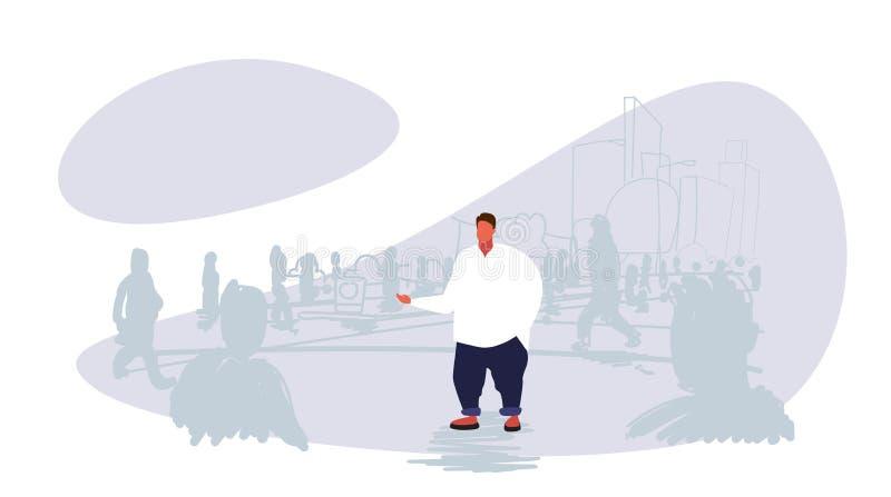 Παχύσαρκο παχύ άτομο που ξεχωρίζει από τις σκιαγραφίες ανθρώπων πλήθους πέρα από τη διαφορετική εικονική παράσταση πόλης έννοιας  απεικόνιση αποθεμάτων
