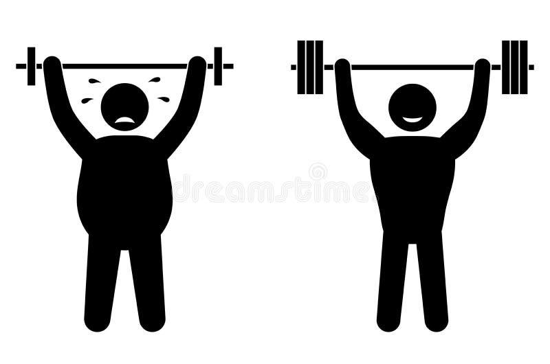 Παχύ άτομο και ισχυρή κατάρτιση ικανότητας αθλητικών τύπων Κτήριο σώματος Υγιής κατάρτιση διανυσματική απεικόνιση