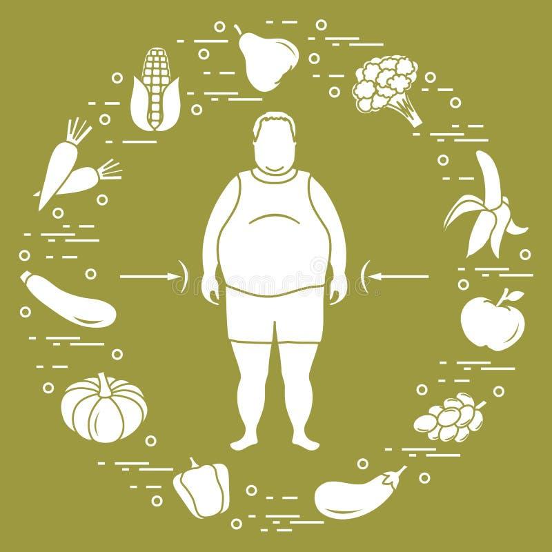 Παχύ άτομο με τα υγιή τρόφιμα γύρω από τον συνήθειες κατανάλωσης υγιείς διανυσματική απεικόνιση