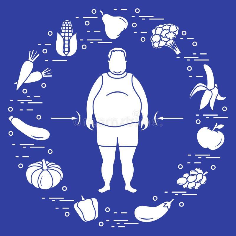 Παχύ άτομο με τα υγιή τρόφιμα γύρω από τον συνήθειες κατανάλωσης υγιείς ελεύθερη απεικόνιση δικαιώματος