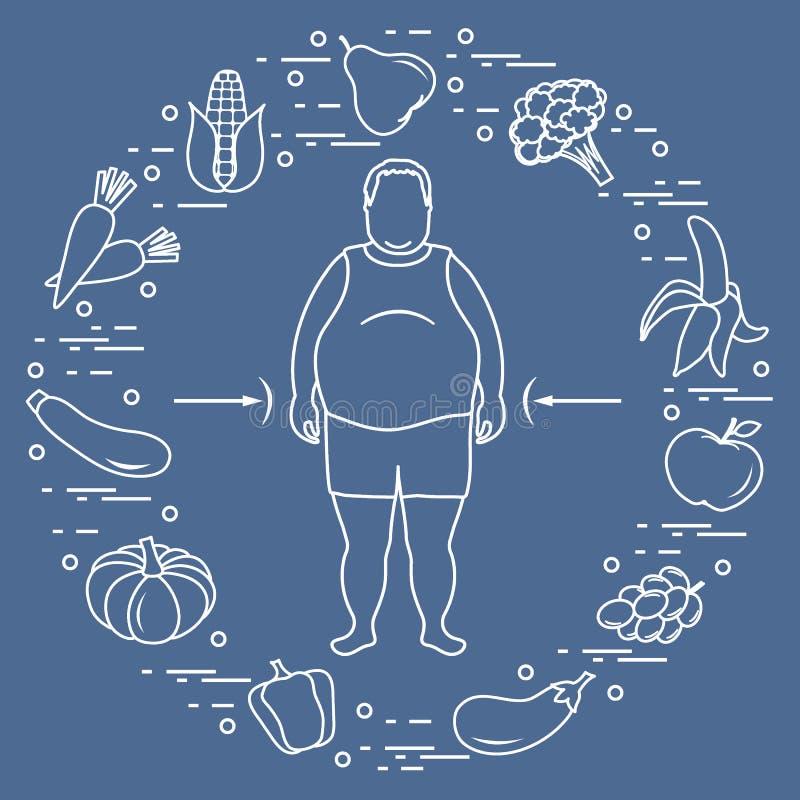 Παχύ άτομο με τα υγιή τρόφιμα γύρω από τον Υγιείς συνήθειες κατανάλωσης : ελεύθερη απεικόνιση δικαιώματος