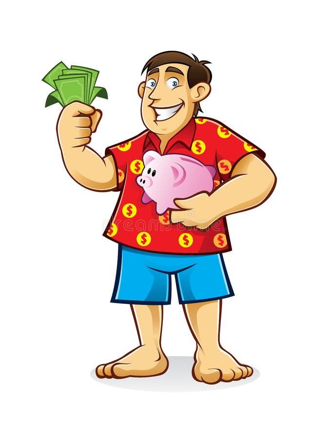 Παχύ άτομο με την τράπεζα Piggy ελεύθερη απεικόνιση δικαιώματος