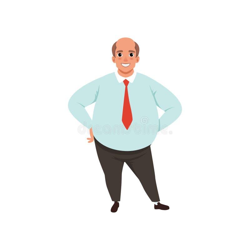 Παχύ ενήλικο άτομο με το φαλακρό κεφάλι Αρσενικός χαρακτήρας κινούμενων σχεδίων στο επίσημο μπλε πουκάμισο ιματισμού, τον κόκκινο ελεύθερη απεικόνιση δικαιώματος