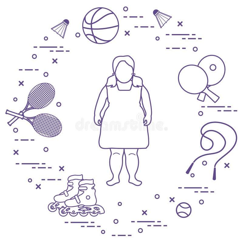 Παχύ κορίτσι, αθλητικός εξοπλισμός Δραστηριότητες παιδιών διανυσματική απεικόνιση